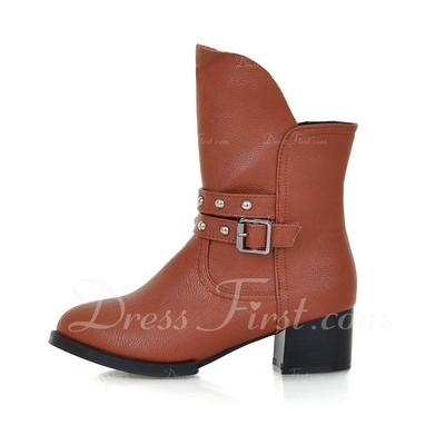 Leatherette Chunky Heel Ankle Boots With Buckle shoes (088054840)