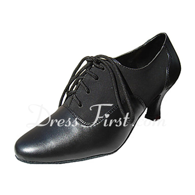 Women's Real Leather Heels Pumps Swing Dance Shoes (053013319)