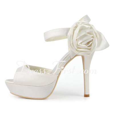 Women's Satin Stiletto Heel Platform Sandals Slingbacks With Buckle Satin Flower (047011830)