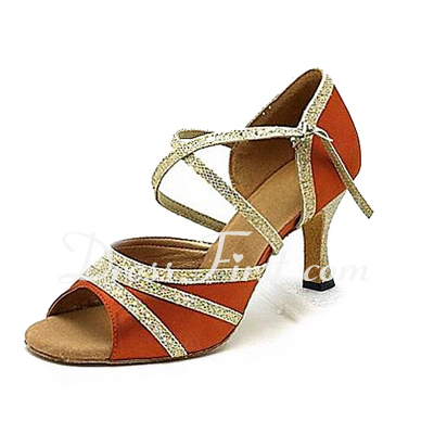 Women's Satin Sparkling Glitter Heels Latin Ballroom Dance Shoes (053013164)