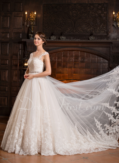 Ball-Gown Scoop Neck Cathedral Train Tulle Wedding Dress With Beading Appliques Lace Sequins (002056486)