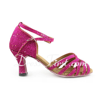 Women's Leatherette Sparkling Glitter Heels Sandals Latin Wedding Party With Ankle Strap Dance Shoes (053013521)