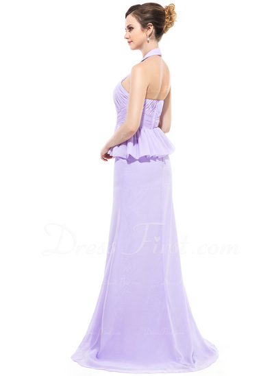 Trumpet/Mermaid Halter Sweep Train Chiffon Evening Dress With Ruffle (017050425)