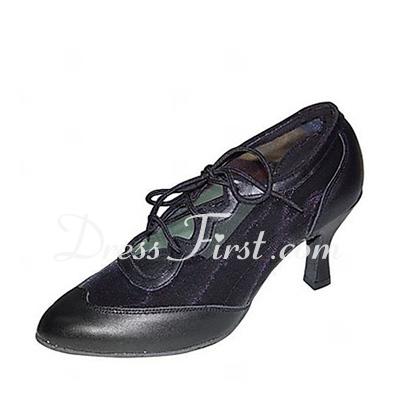 Women's Leatherette Heels Pumps Swing Dance Shoes (053018565)