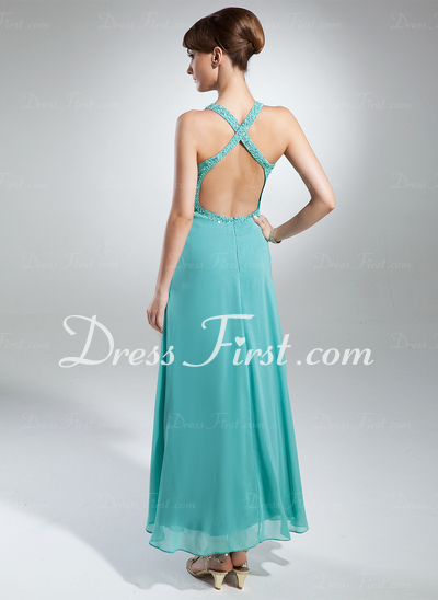 A-Line/Princess V-neck Ankle-Length Chiffon Holiday Dress With Ruffle Beading Flower(s) (020015328)