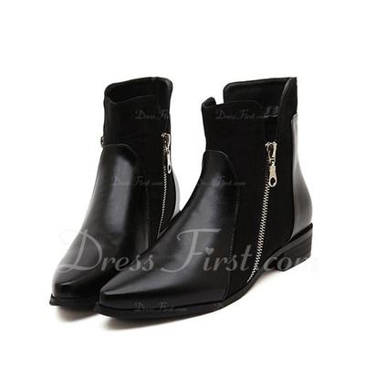 Suni deri Düz Topuk Ayak bileği Boots Ile Fermuar ayakkabı (088056643)