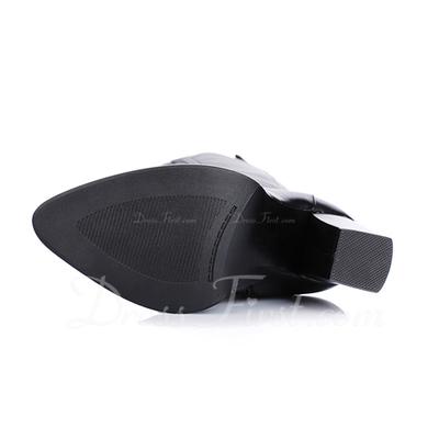 Gerçek Deri Kalın Topuk Diz Yüksek Boots Boots Binme ayakkabı (088057357)