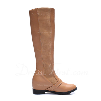Leatherette Low Heel Knee High Boots With Buckle shoes (088056747)
