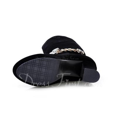 Süet Kalın Topuk Diz Yüksek Boots Ile Yapay elmas ayakkabı (088057325)