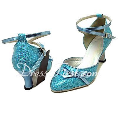 Women's Leatherette Sparkling Glitter Heels Pumps Modern Ballroom With Bowknot Dance Shoes (053013400)