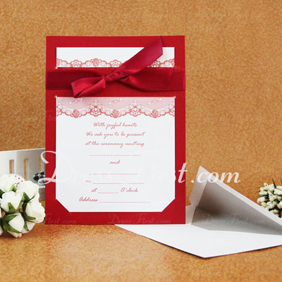 Classic Style Flat Card Invitation Cards With Ribbons (Set of 50) (114030780)