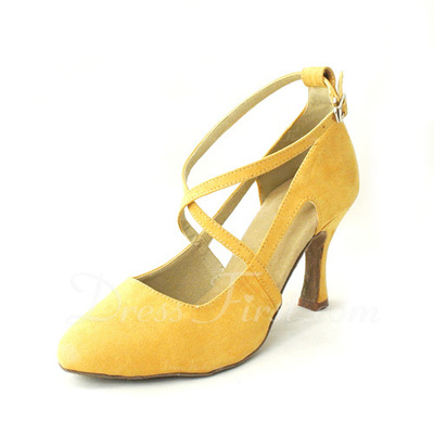 Women's Suede Heels Pumps Latin With Ankle Strap Dance Shoes (053055706)