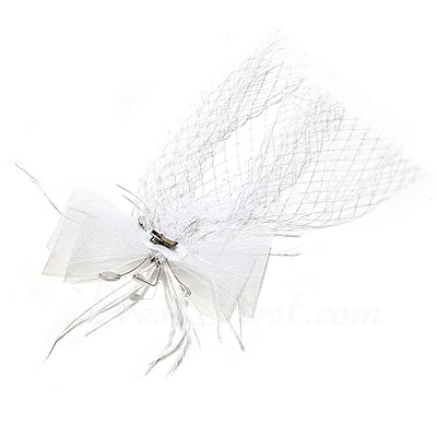 Fashion Net Yarn/Feather Fascinators With Rhinestone/Venetian Pearl (042057566)