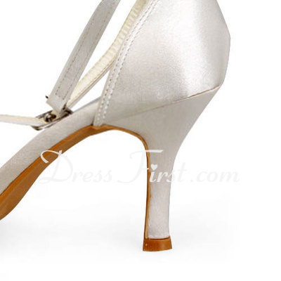 Women's Satin Stiletto Heel Closed Toe Pumps With Rhinestone (047011897)