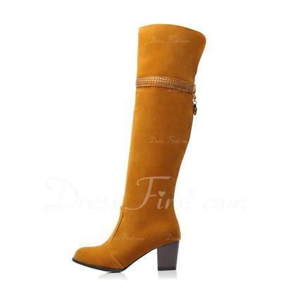 Süet Kalın Topuk Diz Yüksek Boots Ile Yapay elmas ayakkabı (088057249)