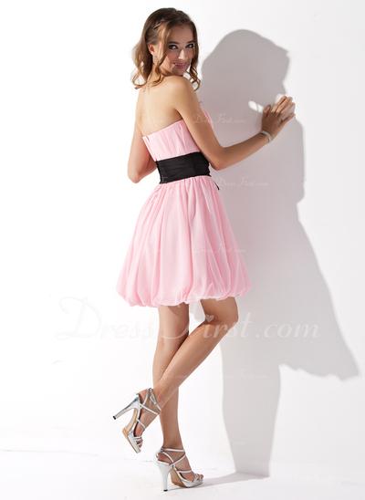 Yüksek Bel Kalp Kesimli Kısa/Mini Chiffon Mezunlar Gecesi Elbisesi (022010736)