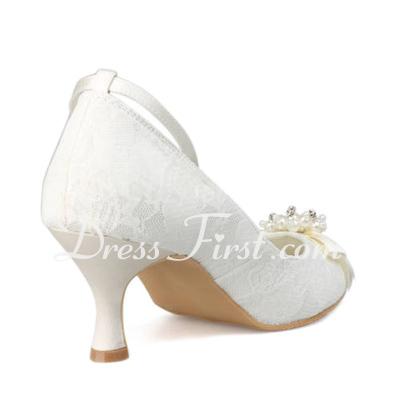 Kadın Lace Makara Topuk Kapalı Toe Pompalar Ile İmitasyon İnci (047011820)