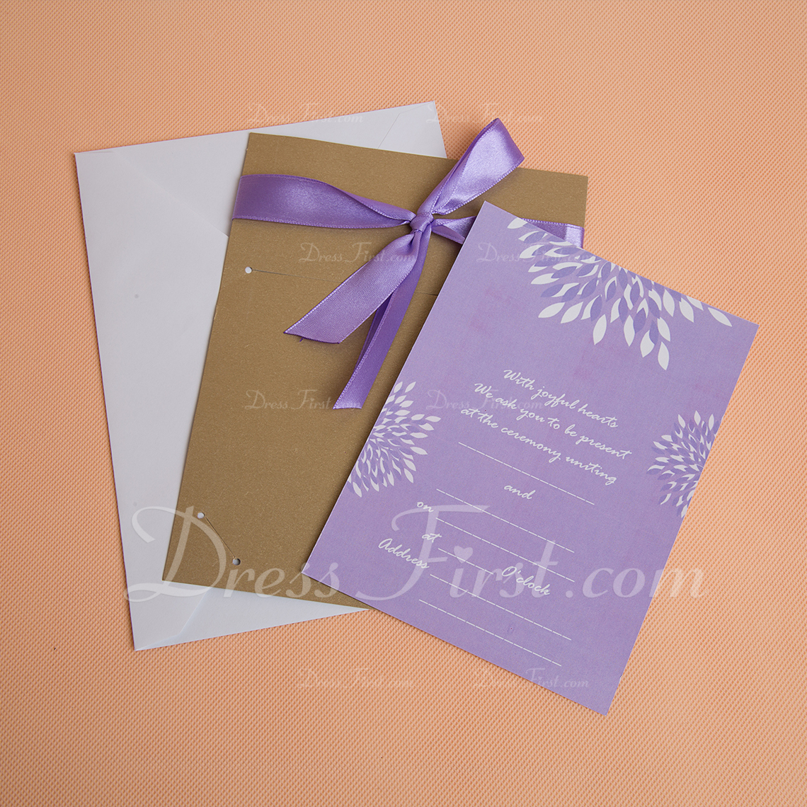 Classic Style Flat Card Invitation Cards With Ribbons (Set of 50) (114030775)