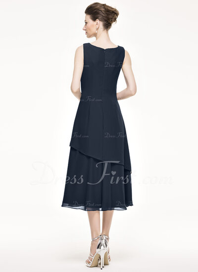 A-Line/Princess Scoop Neck Tea-Length Chiffon Mother of the Bride Dress With Beading Sequins Cascading Ruffles (008062529)