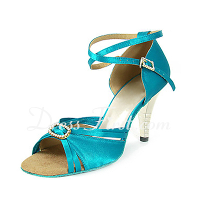 Women's Satin Heels Sandals Latin Wedding Party With Rhinestone Ankle Strap Dance Shoes (053013464)