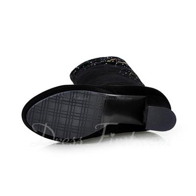 Süet Kalın Topuk Diz Yüksek Boots Ile Yapay elmas ayakkabı (088057351)