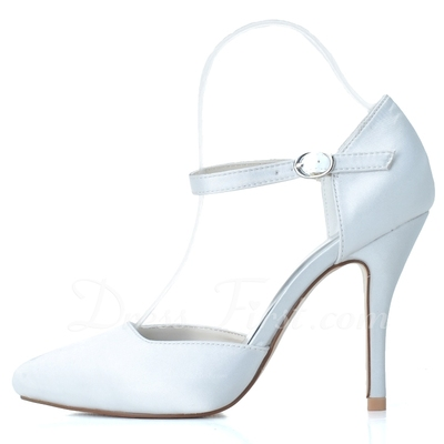 Women's Satin Stiletto Heel Closed Toe Pumps With Buckle (047057078)