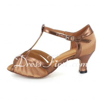 Women's Satin Patent Leather Heels Sandals Latin With T-Strap Dance Shoes (053021487)