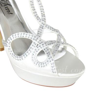 Kadın Satin İnce Topuk Peep Toe Platform Pompalar Ile Yapay elmas Düğme (047057375)