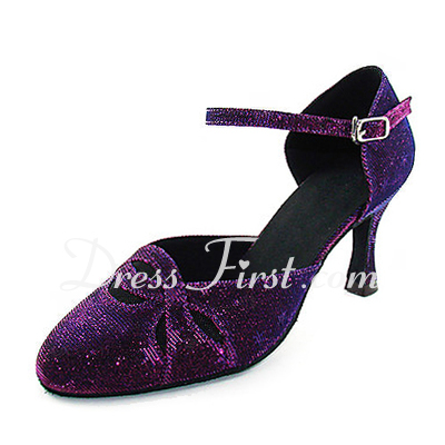Women's Sparkling Glitter Heels Pumps Modern With Buckle Dance Shoes (053013395)
