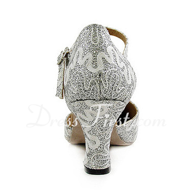 Women's Sparkling Glitter Heels Pumps Ballroom With Ankle Strap Dance Shoes (053013026)