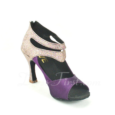 Women's Satin Sparkling Glitter Heels Sandals Latin Dance Shoes (053057148)
