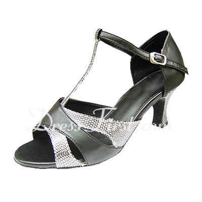 Women's Leatherette Sparkling Glitter Heels Sandals Latin With T-Strap Dance Shoes (053013135)