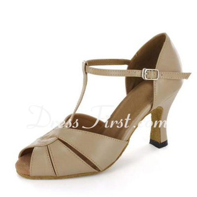 Women's Patent Leather Heels Sandals Latin With T-Strap Buckle Dance Shoes (053020411)