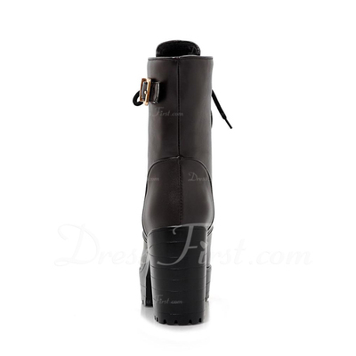 Suni deri Kalın Topuk Platform Ayak bileği Boots ayakkabı (088056369)
