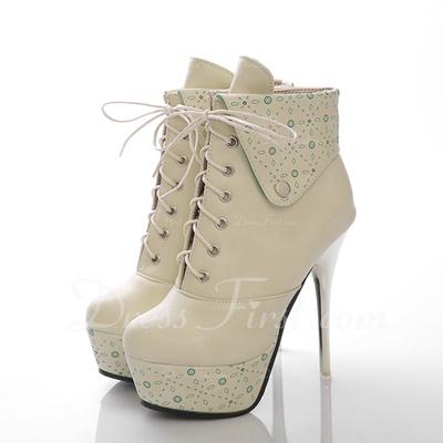 Suni deri İnce Topuk Platform Ayak bileği Boots Ile Bağcıklı ayakkabı (088056359)