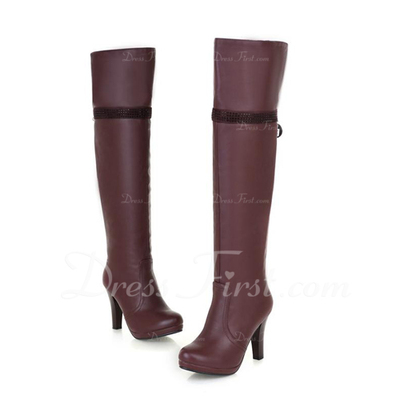 Leatherette Cone Heel Knee High Boots shoes (088057237)
