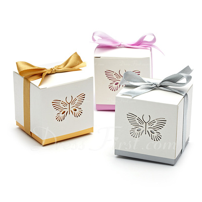 Butterfly Laser-cut Cuboid Favor Boxes With Ribbons (Set of 12) (050013596)