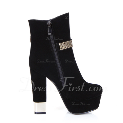 Suede Chunky Heel Platform Ankle Boots With Rhinestone shoes (088054827)