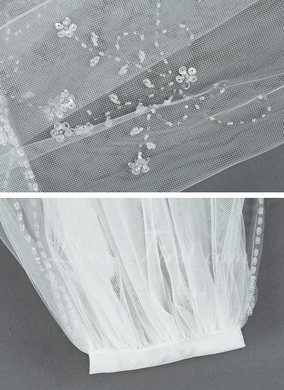 Two-tier Elbow Bridal Veils With Beaded Edge (006034190)
