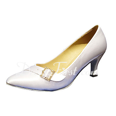 Women's Satin Heels Pumps Modern With Rhinestone Buckle Dance Shoes (053013165)