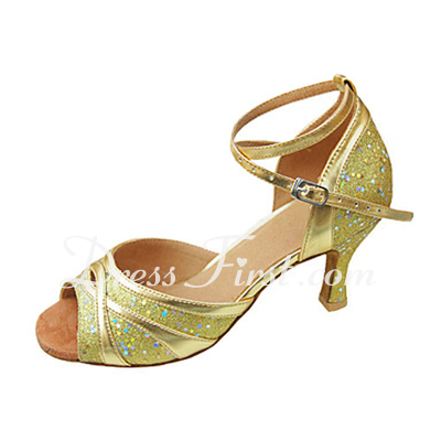 Women's Leatherette Sparkling Glitter Heels Sandals Latin With Ankle Strap Dance Shoes (053013309)