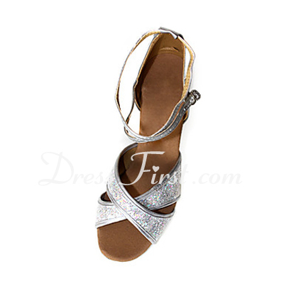 Leatherette Sparkling Glitter Heels Sandals Latin Dance Shoes With Ankle Strap (053013248)