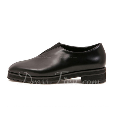 Leatherette Chunky Heel Pumps Closed Toe shoes (085055313)