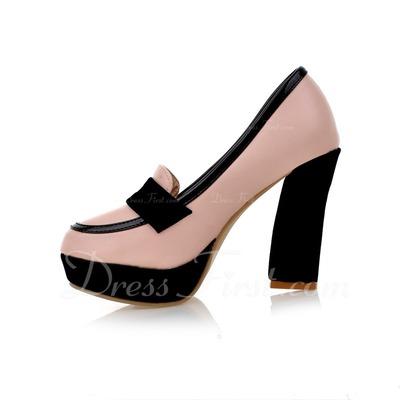 Leatherette Chunky Heel Pumps Closed Toe shoes (085054464)