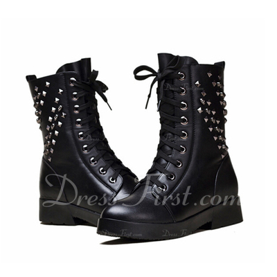 Gerçek Deri Alçak Topuk Ayak bileği Boots Martin Boots Ile Perçin ayakkabı (088057495)