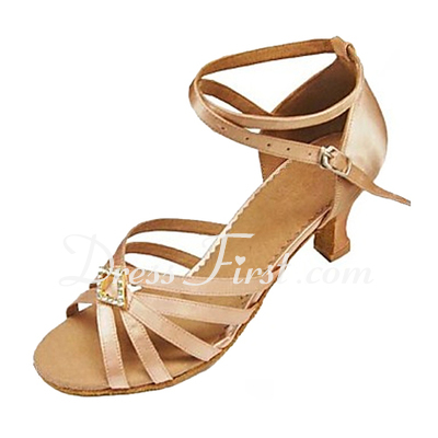 Women's Satin Heels Sandals Latin With Rhinestone Ankle Strap Buckle Dance Shoes (053013339)