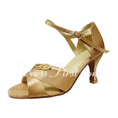 Women's Satin Heels Sandals Latin With Rhinestone Dance Shoes (053013513)