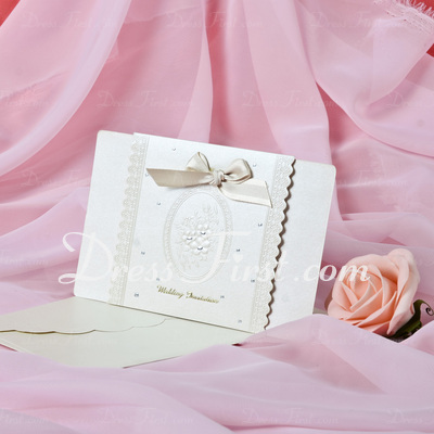 Floral Style Top Fold Invitation Cards With Bows (Set of 50) (114033301)