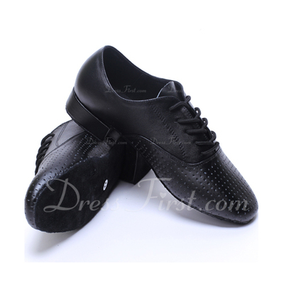 Men's Real Leather Heels Latin Ballroom Practice Character Shoes With Lace-up Dance Shoes (053056033)