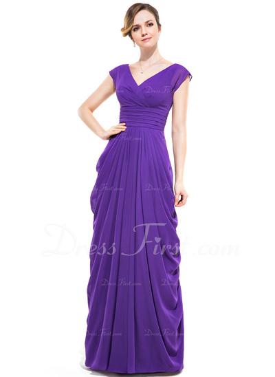 Sheath/Column V-neck Floor-Length Chiffon Bridesmaid Dress With Ruffle (007050052)